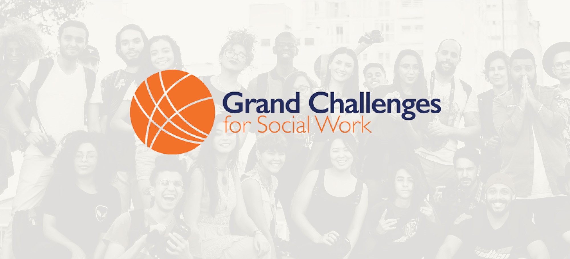 The Grand Challenges for Social Work logo on top of a faint photo of smiling people