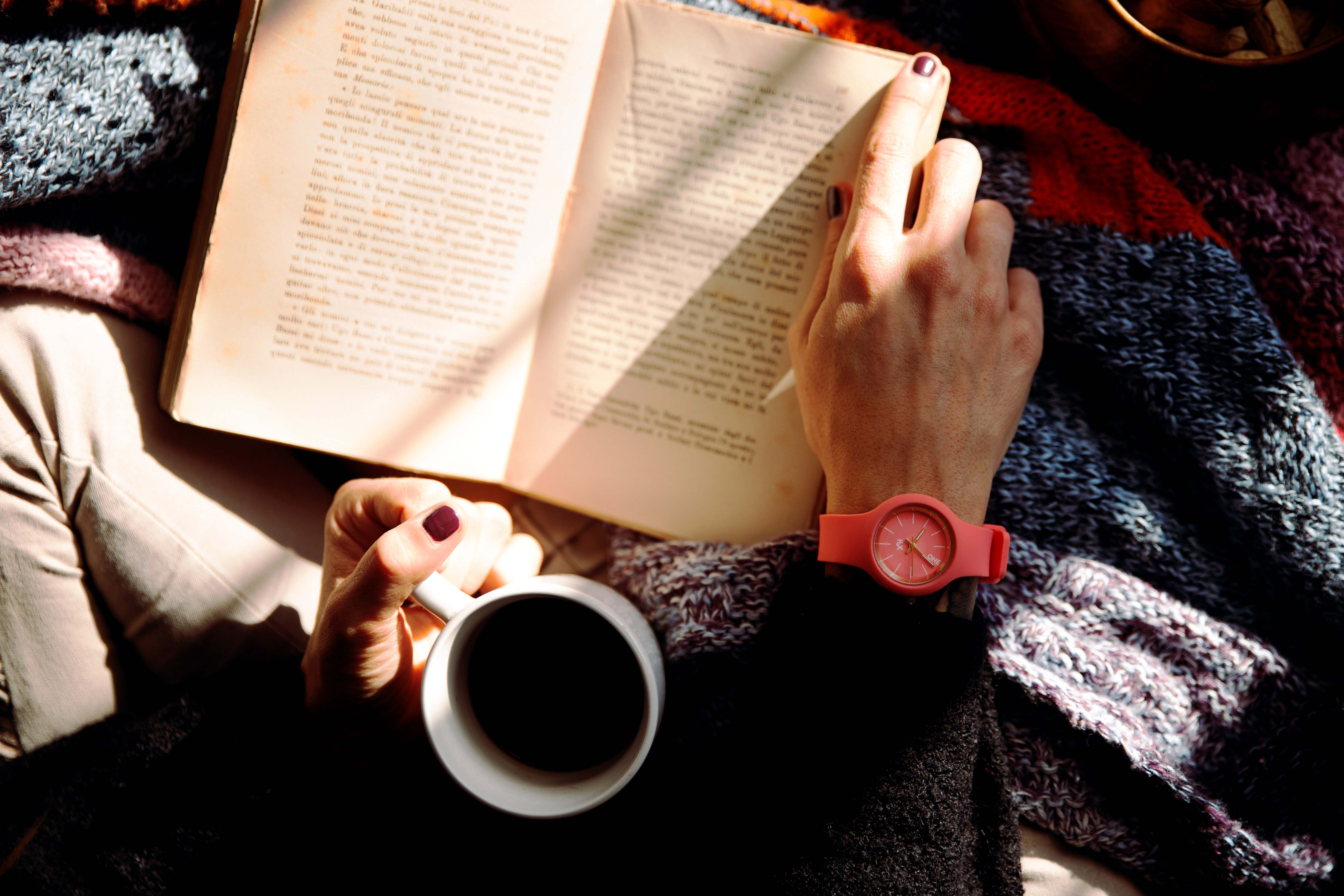 a shot from above of a person sitting on a blanket, one hand about the turn the page of a book, the other hand holding a mug.